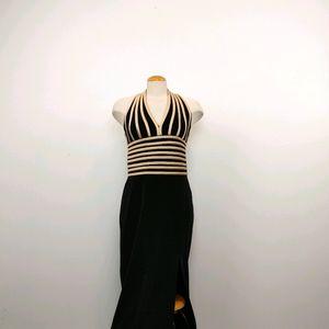 JOSEPH RIBKOFF | Elegant Halter Midi Black Dress